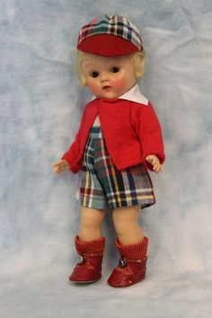 Vogue Ginny Doll 1952 Steve Brother/Sister Series Strung Ptd. lash Rosy Cheeks!