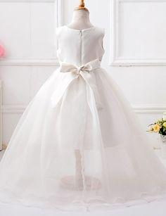 A-line Asymmetrical Flower Girl Dress - Organza / Satin / Polyester Sleeveless Jewel with 4973994 2016 – $49.99