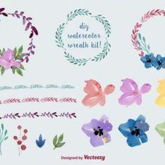 Watercolour coroa de flores e decorações