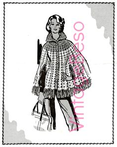 Retro CAPE CROCHET Pattern Buttoned Collar with Arm Slits & Fringe Instant Download Pdf Womens 1960s Vintage Crochet Pattern Mail Order by VintageBeso on Etsy