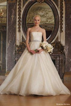 romona keveza spring 2016 luxe bridal rk6401 strapless ball gown wedding dress italian silk jacquard organza swarovski crystal belt