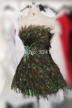 Blickfang echte bilder federkleid a- linie sexy geliebte grün mini pfauenfedern cocktailkleid