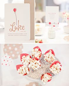 Luke's First Birthday, Minted Party Decor by Kelli Hall | minted.com/julep  Balloon invitation, Jar sign holder, popcorn cups + giant confetti