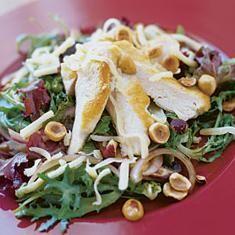 CHICKEN-MESCLUM SALAD WITH HAZELNUT DRESSING http://www.foodily.com/r/k6SlETVK2-chicken-mesclun-salad-with-hazelnut-dressing