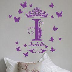 Large Custom Name Monogram Children Vinyl Sticker Wall Decal Crown-Butterfly. $34.95, via Etsy.