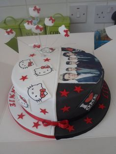 Joint Birthday cake for two little girls, one a One Direction fan, and the other loves Hello Kitty :)