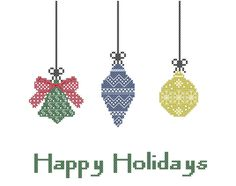 Holiday Cross Stitch Pattern - Christmas Tree Ornaments with Happy Holidays or Our First Christmas.  #crossstitch #holidays #christmas