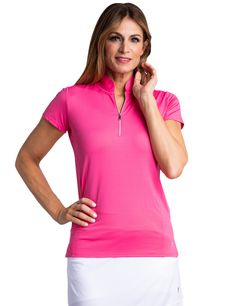 If you're in the market for some new outfits, consider our women's apparel! Shop this comfortable and stylish MIDDAY BLOOM (Fruit Punch) Bette & Court Ladies  and Plus Size Petal Mock Short Sleeve Golf Shirt from Lori's Golf Shoppe.