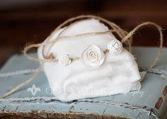 White Cheesecloth Newborn Baby Headband Halo Set by SnassyCrafter, $22.00