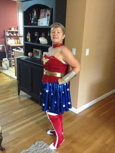 I ordered a Wonder Woman costume online. It was a little big for me when it arrived and my grandmother said she wanted to try it on. This is the fabulous result :]