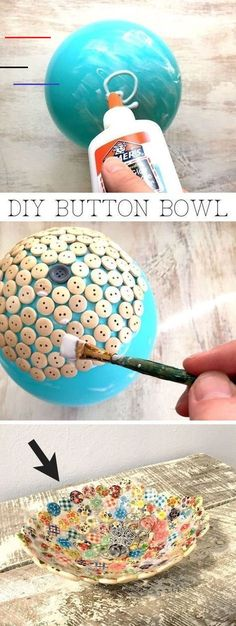 Easy and cheap craft ideas for kids and adults. I love this button bowl using ju… Easy and cheap craft ideas for kids and adults. I love this button bowl using just a balloon, buttons and glue! It's perfect for keys, jewelry or to sell! Diy Craft Projects, Diy Projects For Adults, Easy Diy Crafts, Creative Crafts, Diy Crafts To Sell, Craft Ideas, Diy Ideas, Sell Diy, Simple Crafts