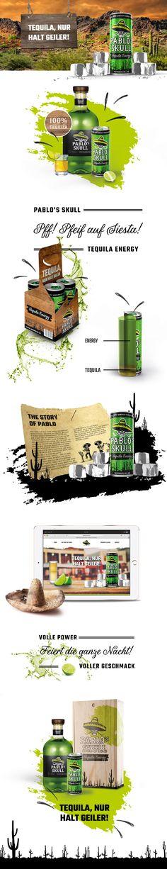 Pablo's Skull – Der brandneue und jetzt schon kultverdächtige Energy Drink mit Tequila! #packaging #design #branding #logodesign