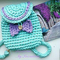 Купить Рюкзачок мятного цвета - мятный, вязаный рюкзак, рюкзачок, рюкзак, рюкзак ручной работы