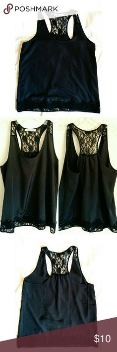 Chloe K Black Lace Trimmed Shell Tank sz M Silky black racer back tank style with lace panel at shoulders/back and lace trim at bottom hem. Pre-loved, but lots of life left. Some pilling on lace at lower hem, no fading. This is a solid clean black (most accurate in top left of last photo set), my photos make it look lighter. Chloe K Tops Blouses