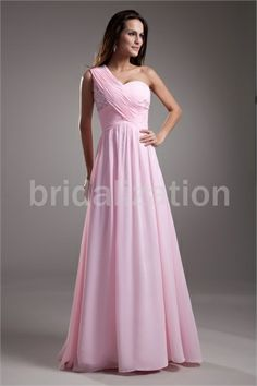 Pink Chiffon One Shoulder Hourglass Sleeveless Special Occasion Dresses