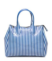 GUM: STRIPED MAXI HAND BAG COLOR BLUE | Playground Shop