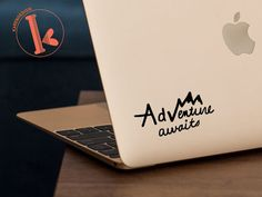 Adventure Awaits Vinyl Decal Sticker laptop by KareAndDesign Macbook Stickers, Macbook Decal, Laptop Decal, Car Stickers, Car Decals, Vinyl Decals, Macbook Air, Laptop Covers, Laptop Accessories