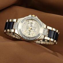 62cc7a2266e 2016 nova moda genebra assista mulheres vestido relógios rosa de ouro  Quartz homens mulheres Rhinestone relógios