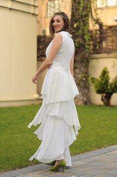 Vaporous summertime modern maxi dress by Colors of Love - Riding Californian waves dress Maxi Dresses, Dress Skirt, Summertime, White Dress, Waves, Elegant, Chic, Stylish, Modern