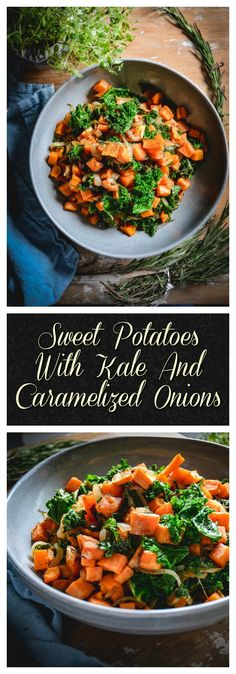 This is a wonderful Thanksgiving side that's a nice alternative to the standard sweet potatoes. All you need are sweet potatoes, kale and onion. It's paleo, whole 30 and vegan. #whole30, #paleo, #vegan, #vegetarian, #kale, #sweetpotato