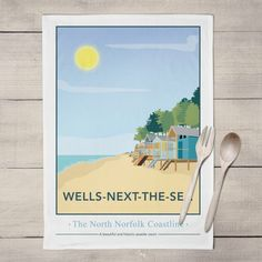 Wells next the Sea, North Norfolk Tea Towel  £8.00  My North Norfolk print of Wells Next the Sea is now available as a Tea Towel.  Designed by myself and professionally digitally printed and constructed in the UK on 100% Cotton Tea Towel complete with hanging loop. Tea Towel is packaged in branded packaging making it the perfect gift or treat for yourself! Tea Towel Dimensions: 45.5cm x 70cm. Wash care instructions: Wash Max 40 degrees.