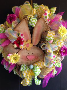 Easter Bunny Deco Mesh Wreath with by DeborahsWreaths on Etsy, $79.00