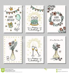 Illustration about Set of six hand drawn birthday mini cards, design template with flowers, champagne glasses and birthday cake. Illustration of birthday, bunting, golden - 108523962 Happy Birthday Doodles, Happy Birthday Drawings, Happy Birthday Cards Handmade, Creative Birthday Cards, Birthday Card Drawing, Birthday Cards For Friends, Bday Cards, Drawn Birthday Cards, Happy Birthday Card Design