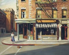 Intense storytelling paintings with feelings of nostalgia and romance by Sally Storch Edward Hopper, Sgraffito, Art And Illustration, Urban Life, Urban Landscape, American Artists, American Realism, Painting Techniques, Artist At Work