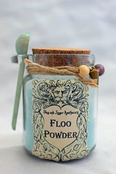 FLOO POWDER  Decorative Harry Potter Glass Jar of by GrimSweetness