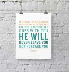 He Will Never Leave You or Forsake You - Deuteronomy 31:6 -$14.00, via Etsy.