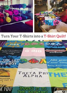 ★☆ super sweet spotlight: the making of a sorority tee shirt quilt! ★☆ NOW is the time to create the perfect sorority GRAD GIFT for your favorite sister! PROJECT REPAT will make a custom lap, twin, full or queen size blanket with all those fantastic greek tees. Award winning & the lowest prices = Project Repat the best source for sorority quilt SUGAR! xoxo http://www.projectrepat.com/