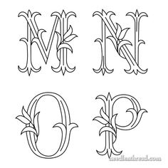 Tulip Monogram Patterns for Hand Embroidery: M, N, O and P