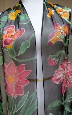 Silk scarf Handpainted chiffon Floral hand made in by Silkworth