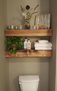 Shipping within two weeks! Shown Patch Color: Provincial Floating Wood Shelves -… Shipping within two weeks! Shown Patch Color: Provincial Floating Wood Shelves -… – Decor, Bathroom Decor, Open Kitchen Shelves, Small Bathroom Remodel, Shelves, Bathrooms Remodel, Home Decor, Floating Shelves Bathroom, Bathroom Shelves