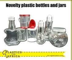 New at #PlasticsforAfrica. Get these novelty plastic bottles and jars, available from your nearest store today.