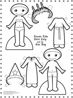 paper doll school kawaii kids 17 saint lucy and the star boy daily daily paperssanta luciafelt