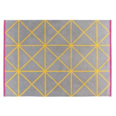Bright and bold Grid medium geometric patterned rug has a soft wool pile and features grey with contrasting yellow grid lines and a striking cerise pink border. Buy now at Habitat UK. Motif Design, Pattern Design, Yellow Tile, Pink Yellow, Yellow Home Decor, Geometric Rug, Small Rugs, Modern Rugs, Rugs On Carpet
