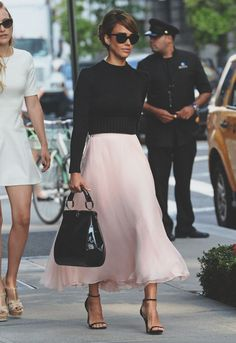 Rose chiffon skirt with a black cropped ribbed sweater and strappy black heels for a classic Audrey Hepburn look. Via This is Glamorous