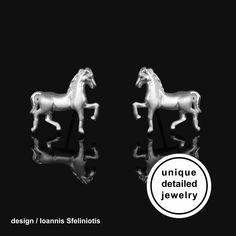 Horse Earrings – Sterling Silver Horse Jewelry. The perfect gift for horse lover. You will love their delicate design! These cute earrings have a wonderful detailing and flawless 3D craftsmanship with my unique repousse technique. #horseearrings #horsestudearrings #horse #horsestud #horsegift #silverhorse #horsejewelry