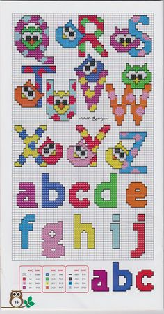 alphabet - chouette - point de croix - cross stitch - Blog : http://broderiemimie44.canalblog.com/