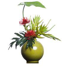 Pin Cushion & heleconia in Avacado Bobbin Vase