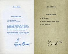 Dean Martin and Frank Sinatra, exchanging recipes.