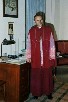 Bishop Karol Wojtyla in Rome during The 2nd Vatican Council, 1963.