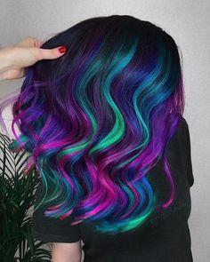 Galaxy Hair Color, Vivid Hair Color, Cute Hair Colors, Pretty Hair Color, Beautiful Hair Color, Hair Color Purple, Hair Dye Colors, Wild Hair Colors, Rainbow Hair Colors
