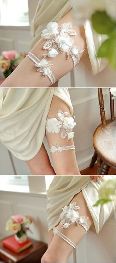 bridal garter belt with chiffon flowers Wedding Garter Set 4da7807c91b0