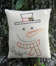 Primitive Snowman Pillow Tuck  Embroidered