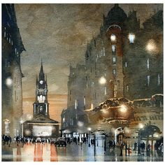 "The Tron- Glasgow by Iain Stewart Watercolor ~ 12"" x 12"""