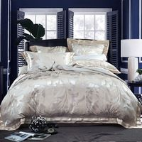 beautiful leaves print silver linens silk cotton jacquard duvet cover sets Queen/Full/Double/King Size bedding sets