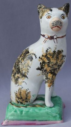 "Antique Staffordshire CALICO CAT on Base Large 7.25"" Signed FIGURINE Vintage 
