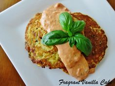 Savory Zucchini Cakes using aquafaba. substitute the full fast coconut milk for soy or tofu